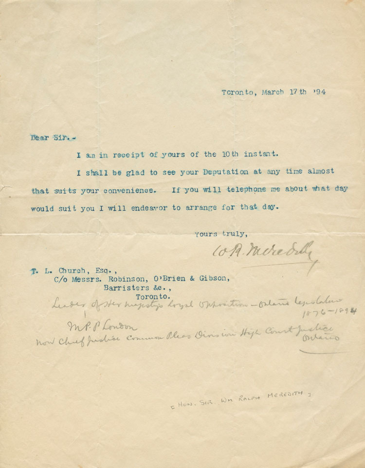 Typed Signed Letter (TSL) from William Ralph Meredith to L. Church. Sir William Ralph MEREDITH.