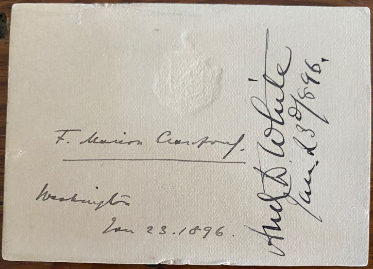 Signature on card of Francis Marion Crawford. Francis Marion CRAWFORD.