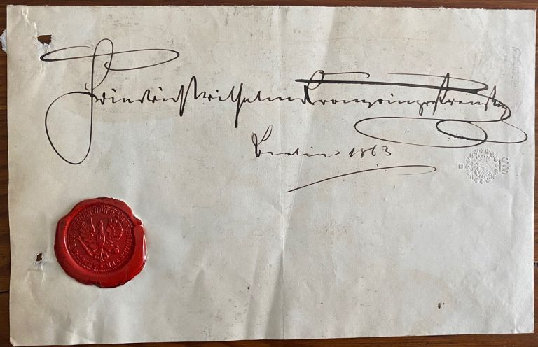 Signature of Frederick William Nicholas Charles, Crown Prince of Prussia on a partial pice of paper with a red wax seal. Frederick William Nicholas CHARLES, Crown Prince of Prussia.