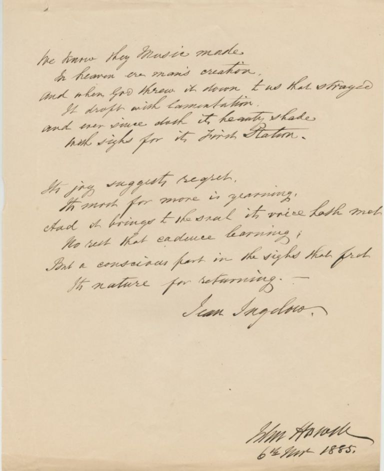 Signature of John Howell at bottom right on a copy of a holograph poem. John  HOWELL, c.