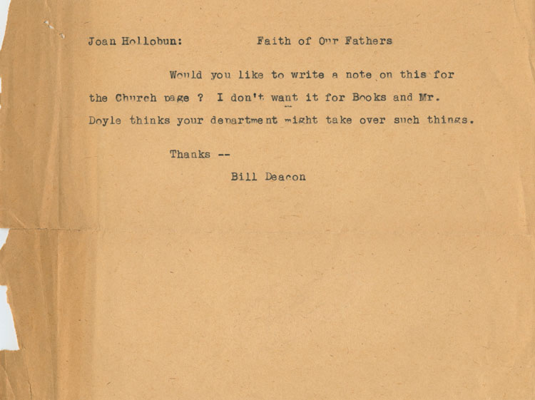 Unsigned typed note of William Arthur Deacon to Joan Hollobun. William Arthur DEACON, Joan HOLLOBUN.