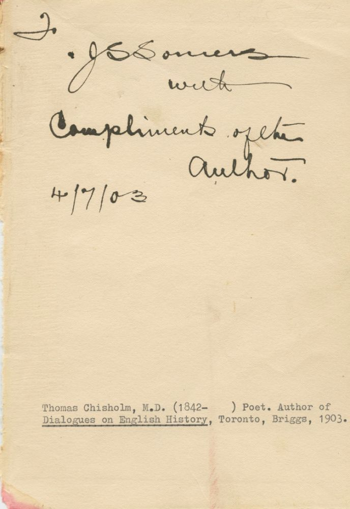 Signature of Dr. Thomas Chisholm. Dr. Thomas CHISHOLM.
