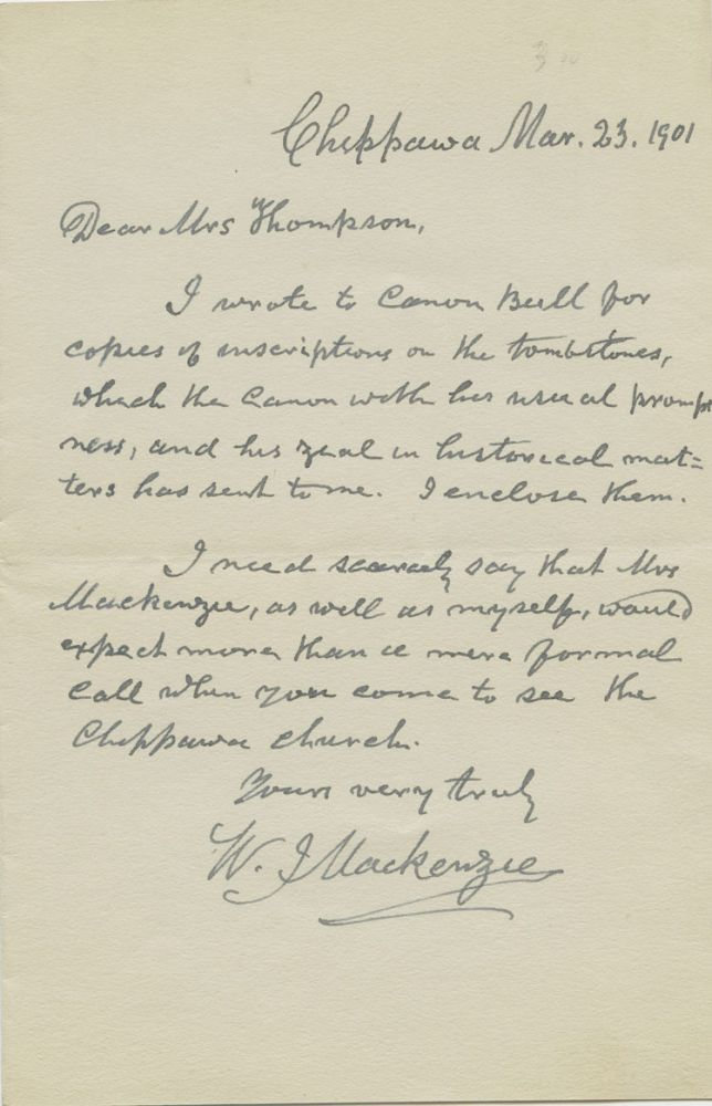 Autographed Letter Signed (ALS) by Reverend W. J. MacKenzie to Mrs. Thompson. Reverend W. J. MACKENZIE.
