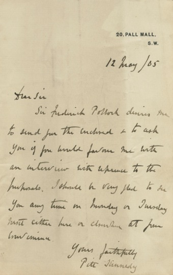 Two autographed Letters Signed (ALS) from Pitt Kennedy, assistant to Sir Frederick Pollock. Pitt KENNEDY, Sir Frederick POLLOCK, 3rd Baronet, Edward KC MP BLAKE, Dominick.