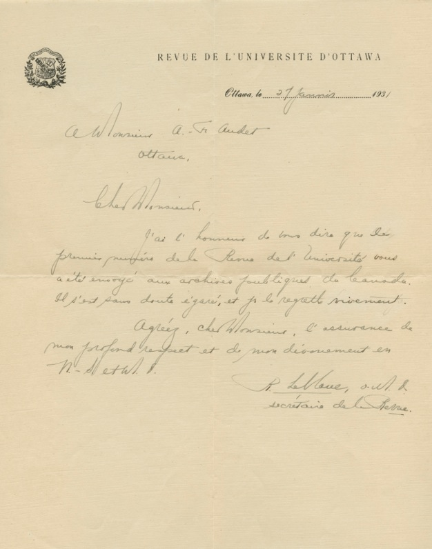 Autographed French Letter Signed ALS of Raoul Leblanc to François