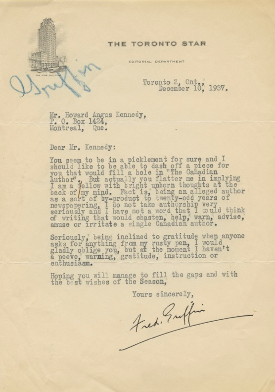 Autographed Letter Signed (ALS) of George G. Patterson to Howard Angus Kennedy. Frederick G. GRIFFIN, Howard Angus KENNEDY.