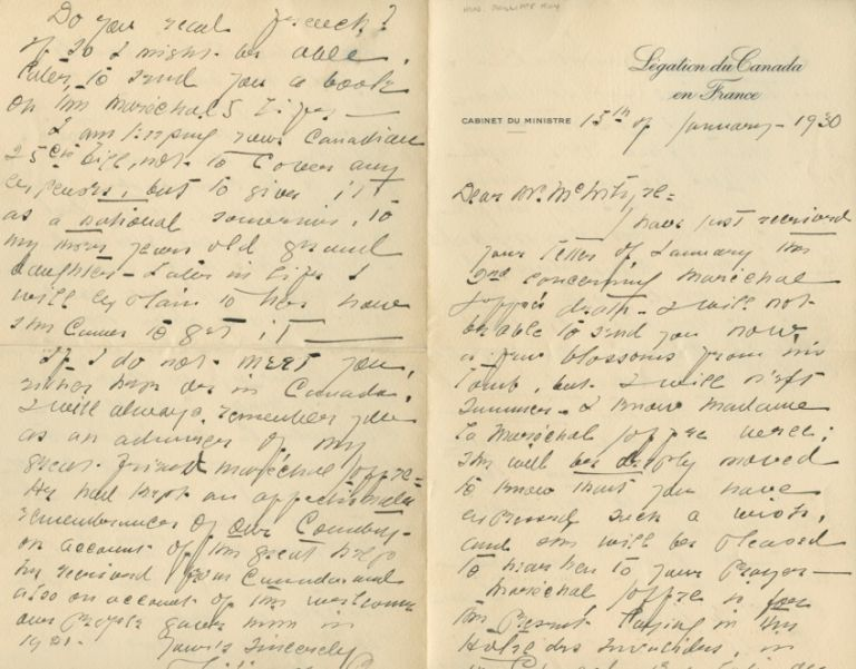Autographed Signed Letter from Philippe Roy to Marshall Joffre. Dr. Philippe ROY, Marshall Joseph Jacques Césaire JOFFRE.