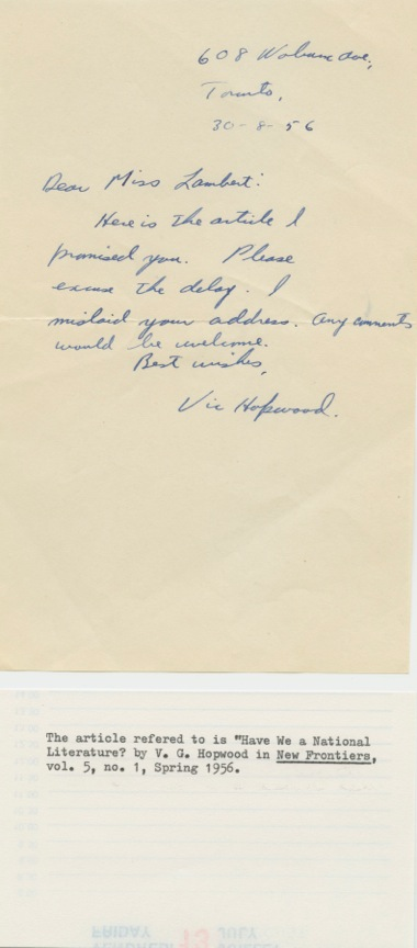 Initialed Signed Note of Victor G. Hopwood. Victor G.  HOPWOOD.