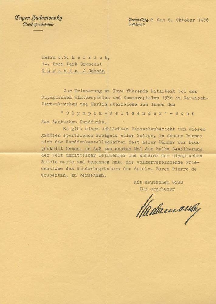 Typed Letter Signed TLS of Eugen Hadamovsky in German to J.G.
