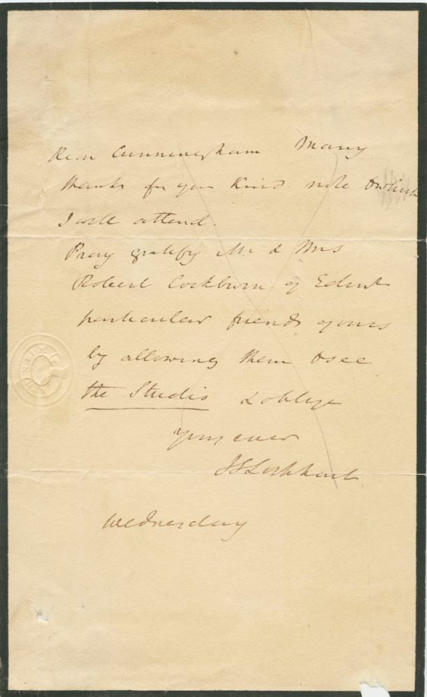 Autographed Signed Letter (ASL) of John Gibson Lockhart to [Alan] Cunningham. John Gibson LOCKHART, Alan CUNNINGHAM.