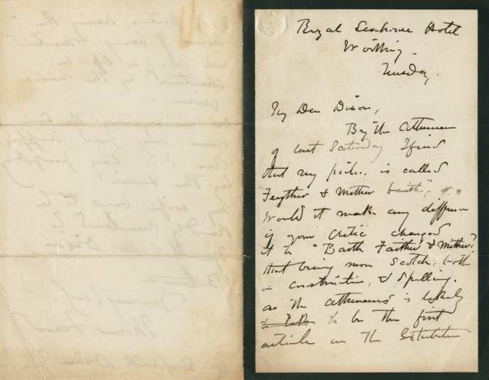 Autographed Signed Letter (ASL) of Thomas Faed. Thomas FAED.