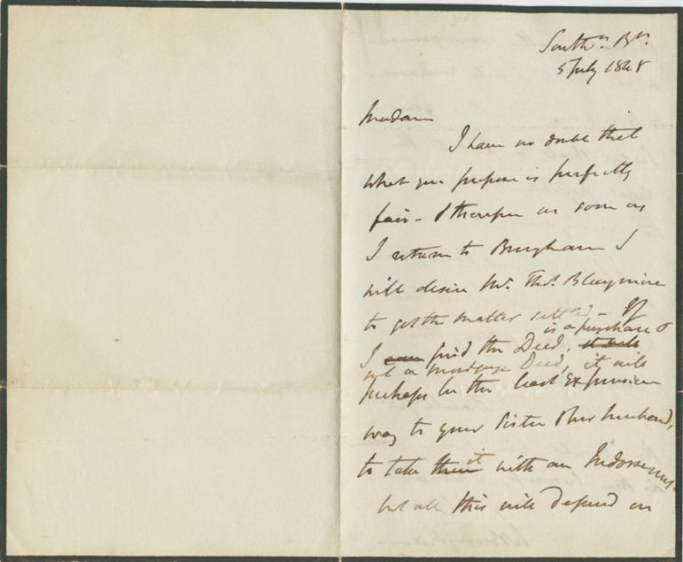 Autographed Signed Letter (ASL) of William Brougham. William 2nd Baron Brougham and Vaux BROUGHAM.