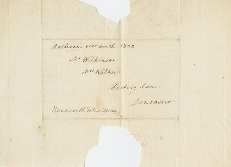 Signed envelope front of William Wentworth-Fitzwilliam, 4th Earl Fitzwilliam. William WENTWORTH-FITZWILLIAM, 4th Earl Fitzwilliam.