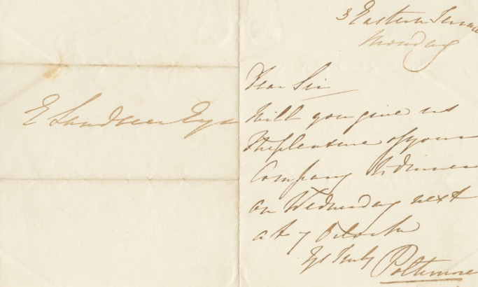 Autographed Signed Letter (ASL) of Augustus Frederick George Warwick Bampfylde, 2nd Baron Poltimore. Augustus Frederick George Warwick BAMPFYLDE, 2nd Baron Poltimore.