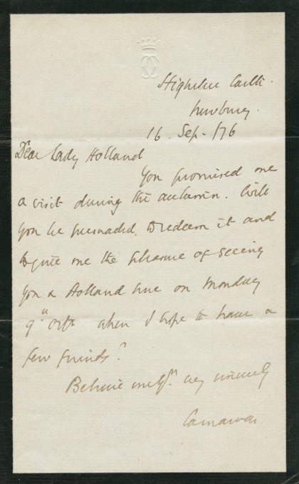 Autographed Signed Letter (ASL) of Henry Howard Molyneux Herbert, 4th Earl of Carnarvon. Henry Howard Molyneux HERBERT, 4th Earl of Carnarvon.