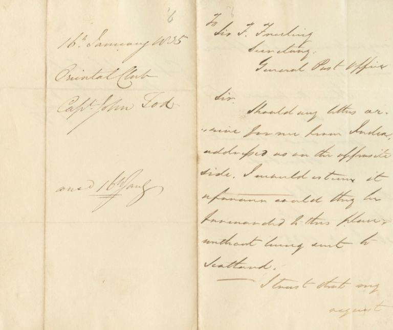 Autographed Signed Letters(ASL) of John Tod. Captain John TOD.