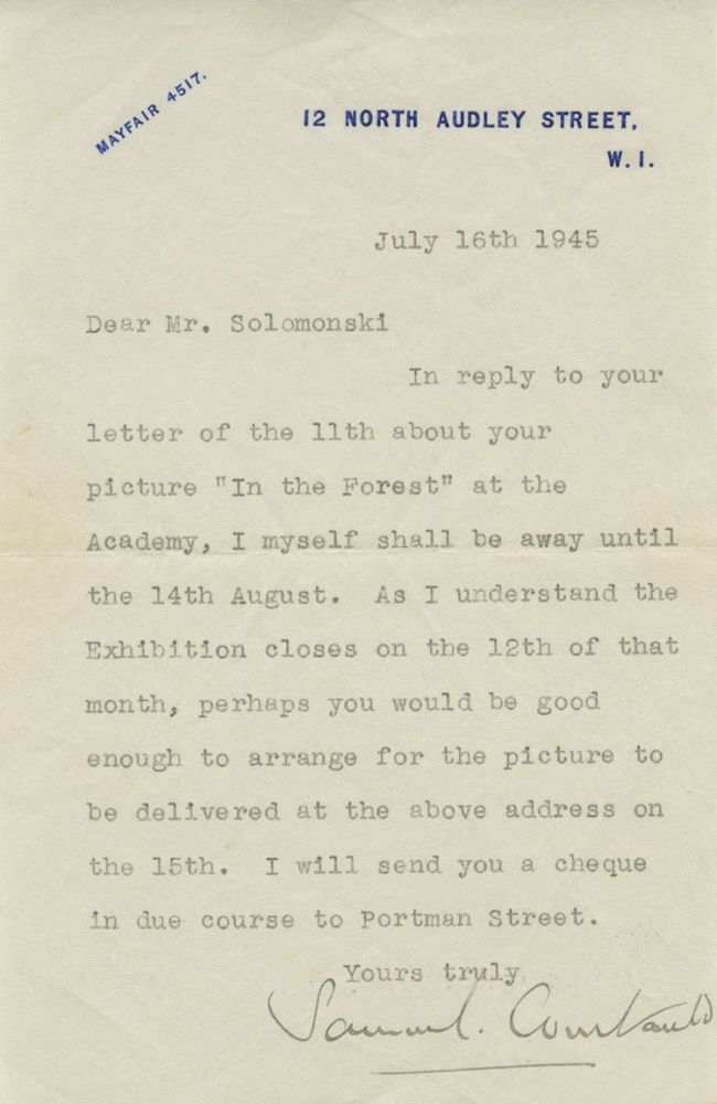 "Typed Signed Letter (TSL) of Samuel Courtauld to Fredrick ""Fritz"" Solomonski. Samuel COURTAULD, Frederick K. ""Fritz"" SOLOMONSKI, provenance."