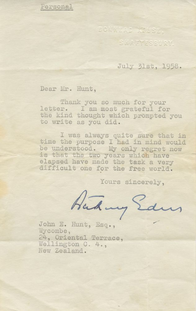 Typed Signed Letter (TSL) marked 'personal' of Anthony Eden, to John E. Hunt. Robert Anthony EDEN, 1st Earl of Avon, John E.  HUNT, Edwin, provenance.