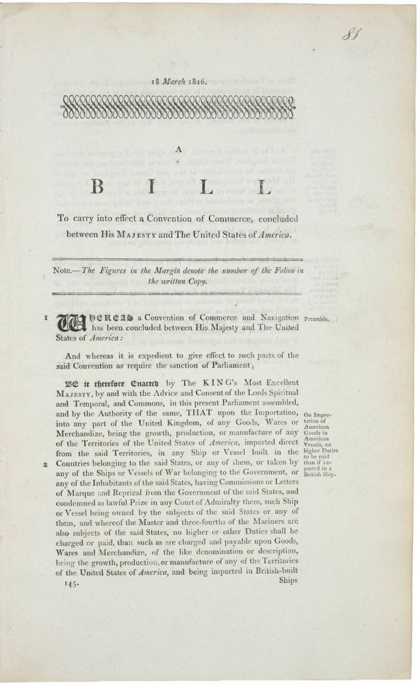 A collection of three rare and important 1816 British War of 1812 legal documents (a bill and two acts) dealing with post War of 1812 to carry into effect a Convention of Commerce, concluded between His Majesty and the United States of America. British Government.