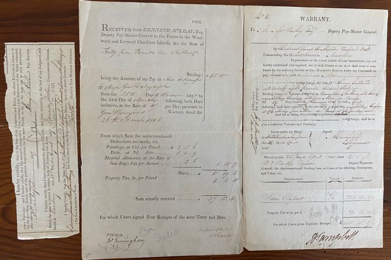 Three printed and signed documents two regarding British forces in the Windward and Leeward Charibbee (Caribbean) islands 1808, & 1817 and One in 1815, Mauritius, East Africa. A. Campbell, Smith.