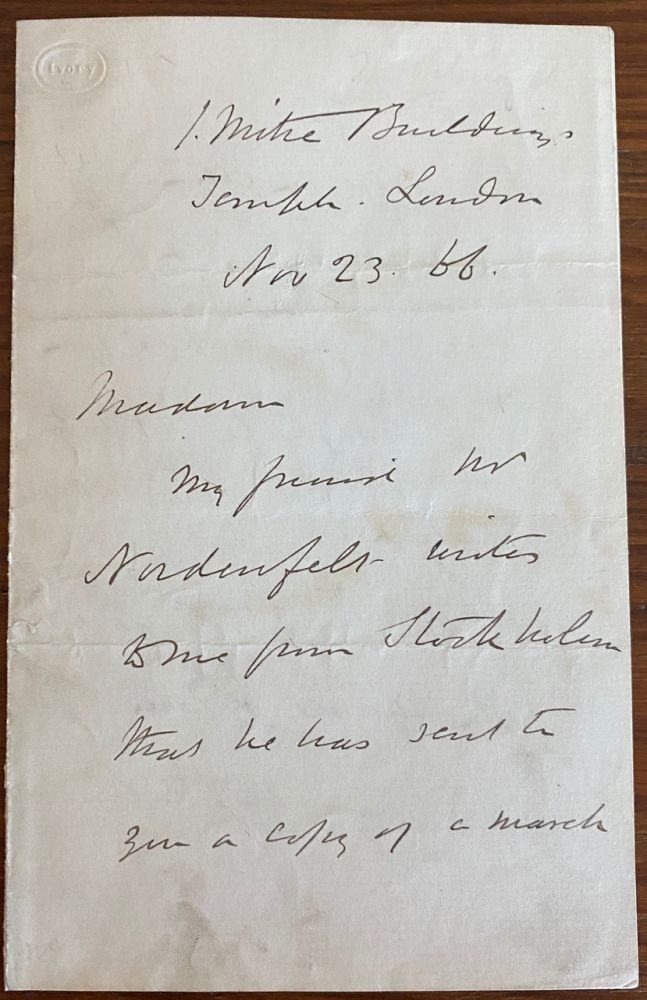 """John MacGregor holograph letter relating to research on his first book """"A Thousand Miles in the Rob Roy Canoe"""" John MACGREGOR."""