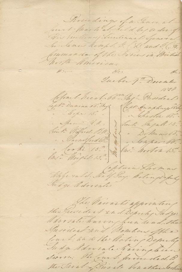 Proceedings of a General Court Martial held by Order of his Excellency Lieutenant General Sir James Kempt [...] Commander [etc] Quebec 9th December 1828. General Sir James  KEMPT, C. NICOL, Jonathan JACKSON, c.