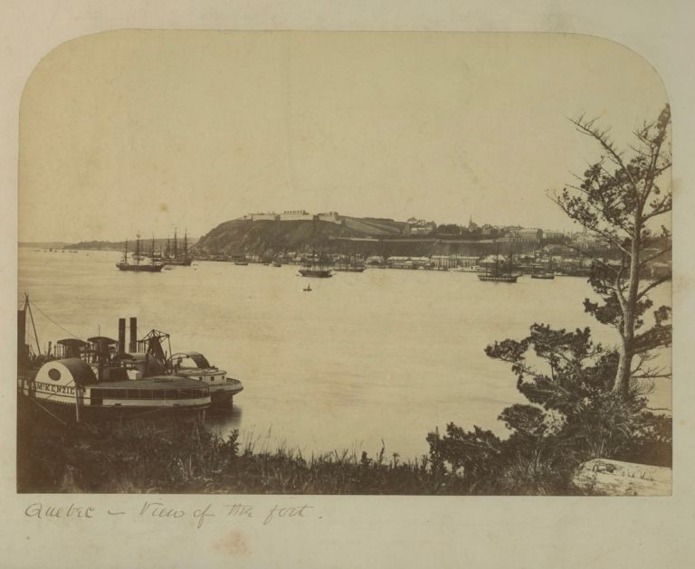 Quebec - albumen view of the fort [Citadel and Quebec City from Point Levis, QC, in 1865]. William NOTMAN.