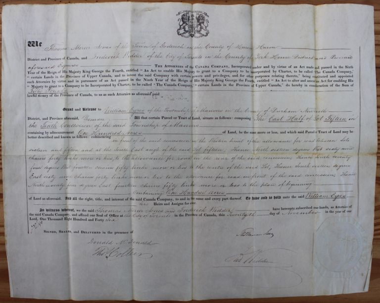 Canada Company Land Grant to William Eyres of the Township of Manvers in the County of Durham Newcastle for 100 acres. William EYRES, Thomas Mercer JONES, Donald MCDONALD, Frederick WIDDER.