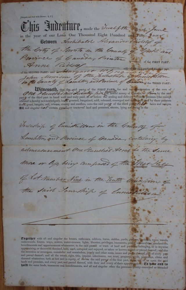 Indenture for the sale of land in the Township of Enniskillen in the County of Lampton from A.A. Riddell to Margaret McGregor wife of John Morrison (June 12, 1854). A. A. RIDDELL, Margaret  McGREGOR, Alexander Archibald, wife of John Morrision.
