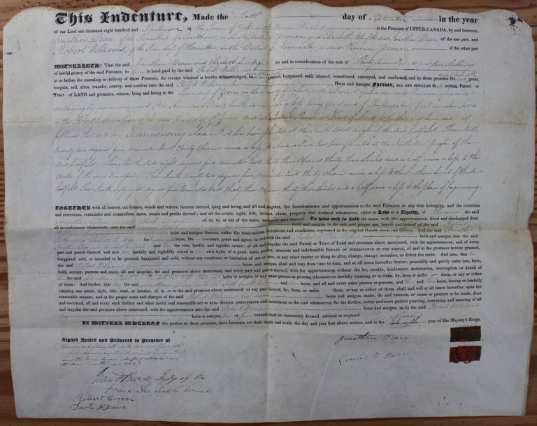 Indenture for the sale of land in the Township of Zorra, County of Oxford, District of London from Jonathan and Elizabeth Dean to Robert Williams (September 6, 1831). Grant POWELL, Jonathan DEAN, Elizabeth, Robert WILLIAMS.