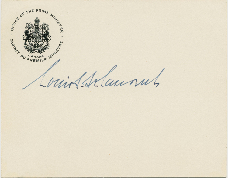 """Louis St. Laurent """"in-office"""" signature on Prime Minister office card. Louis Stephen ST. LAURENT."""
