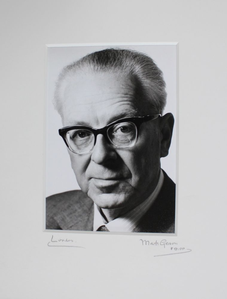 Silver gelatin portrait photograph of William Plomer by Mark Gerson. William PLOMER, Mark  GERSON, subject, b1921, photographer.