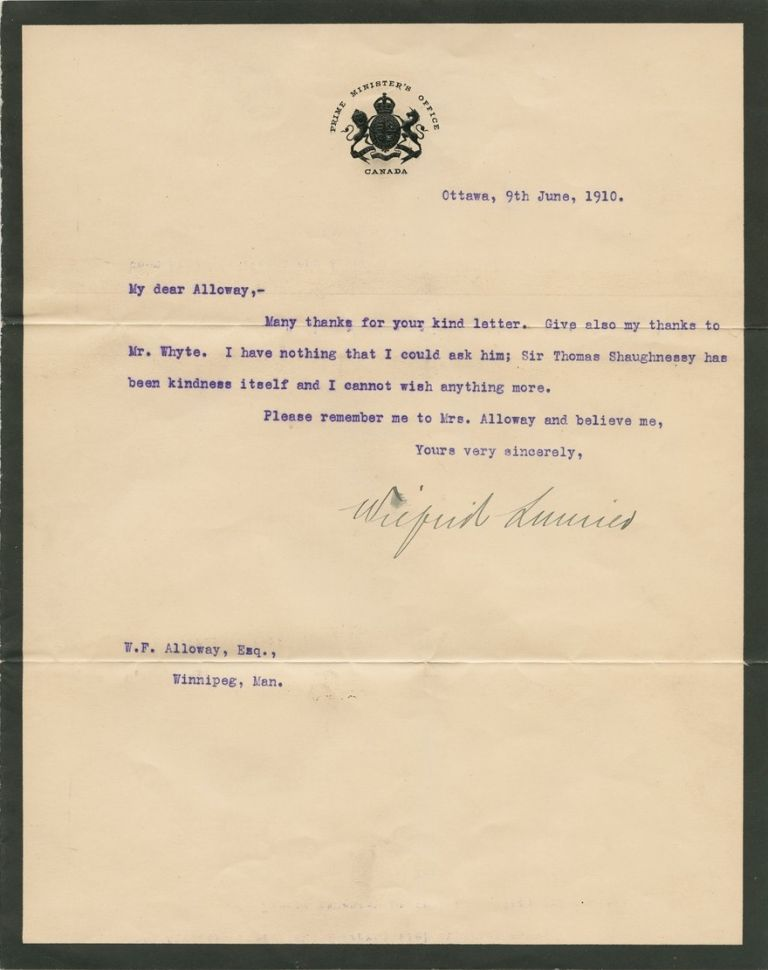 "Wilfrid Laurier ""in office"" 1910 typed letter signed. Sir Wilfrid LAURIER."
