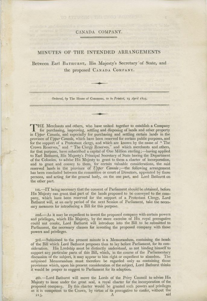 Canada Company, minutes of the intended arrangements between Earl Bathurst, His Majesty's Secretary of State, and the proposed Canada Company. Henry Bathurst Earl BATHURST, John Esq GALT, John Esq GALT, Canada Company.