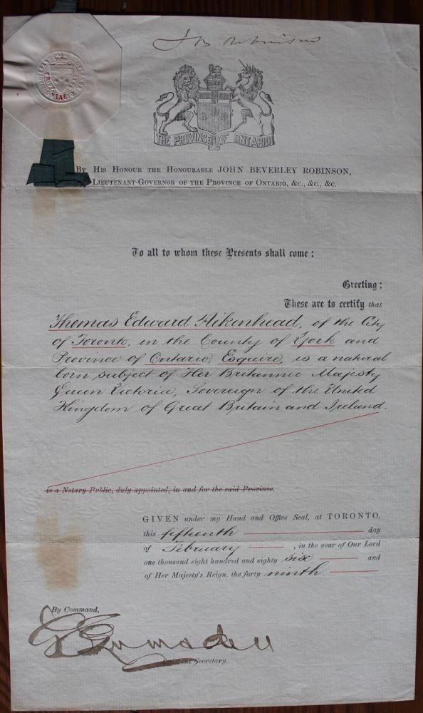 Thomas Edward Aikenhead legal / reference document from Lieutenant Governor of Ontario John Beverley Robinson. John Beverley ROBINSON, George E. LUMSDEN, Thomas Edward  AIKENHEAD, b1859.