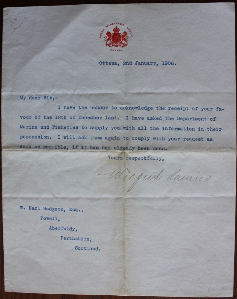 "Wilfrid Laurier ""in office"" 1906 typed letter signed. Sir Wilfrid LAURIER, William Earl HODGSON, provenance."
