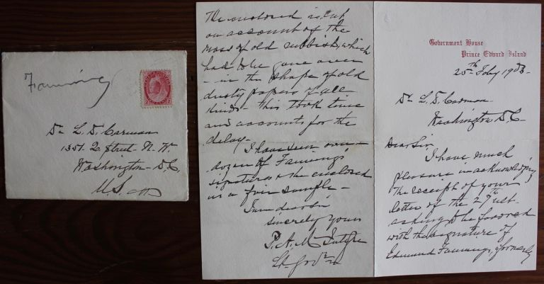 Peter Adolphus McIntyre holograph letter on Government House Prince Edward Island stationary. Peter Adolphus MCINTYRE.