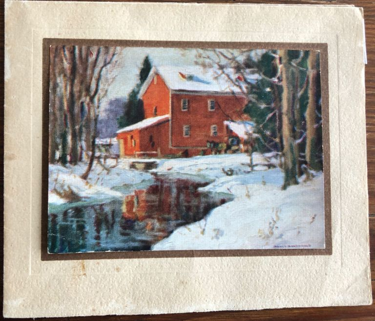 "Christmas Card Print of Bruce's Mill titled ""The Red Mill"" after a Manly MacDonald painting. Manly MACDONALD."