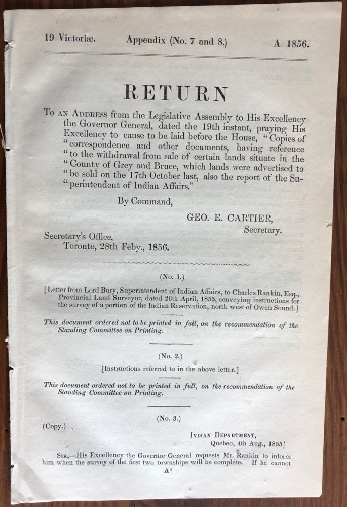 Appendix (No. 7 and 8) RETURN: To an address from the Legislature Assembly to His Excellency The Governor General, dated the 19th ... county of Grey and Bruce. Sir George-Étienne CARTIER, 1st Baronet.