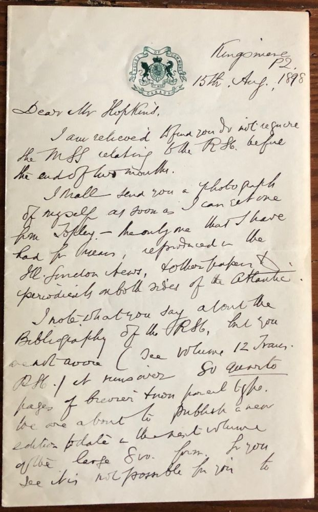 Letter from Bourinot to Hopkins regarding Royal Society of Canada (RSC) new edition. Sir John George BOURINOT, John Castell HOPKINS.