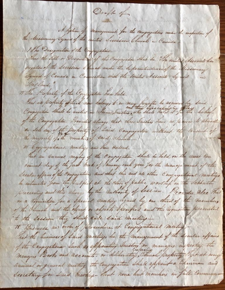 Draft of Church Constitution letter [Missionary Synod of the United Secession Church in Upper Canada]. William PROUDFOOT, provenance.
