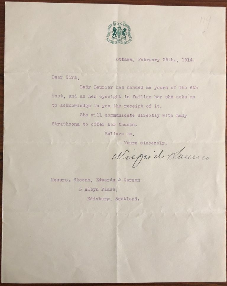Typed Letter Wilfrid Laurier signed on House of Commons letterhead, February 25th, 1914, to lawyers of 2nd Lady Strathcona. Sir Wilfrid LAURIER.