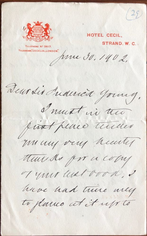 Autograph Letter Signed by Wilfrid Laurier while in office as Prime Minister of Canada, to Sir Frederick Young. Sir Wilfrid LAURIER, Sir Frederick YOUNG, provenance.
