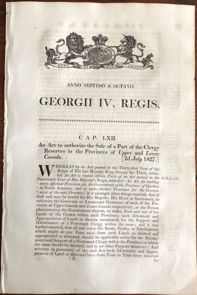 Clergy Reserves, An Act to authorize the Sale of Part of the Clergy Reserves in the Province of Upper and Lower Canada - 2d July 1827. British Government - Act of Parliament.