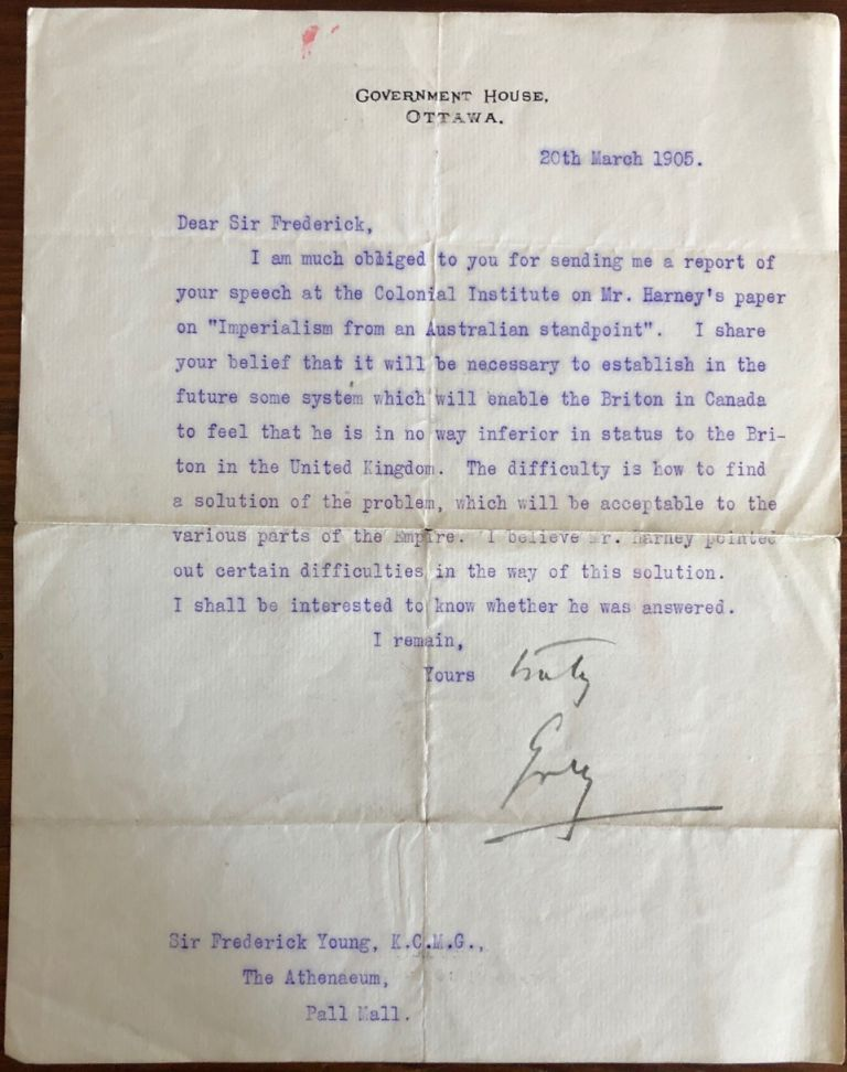 Sir Albert Henry George Grey, 4th Earl Grey typed letter signed (TLS) to Sir Fredrick Young. Sir Albert Henry George GREY, 4th Earl Grey, Sir Frederick YOUNG, provenance.
