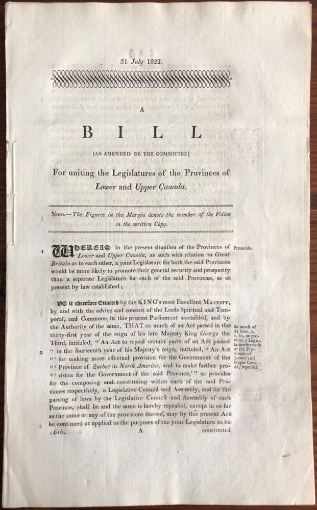 A Bill (as amended for the Committee) for uniting the Legislatures of the Provinces of Lower and Upper Canada. The House of Commons.