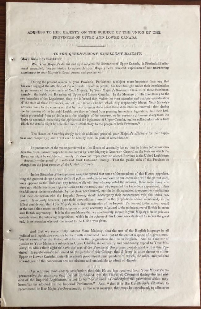Address to Her Majesty, on the subject of the Re-union of the Provinces of Upper and Lower Canada. Sir Allan Napier HOUSE OF ASSEMBLYMACNAB.