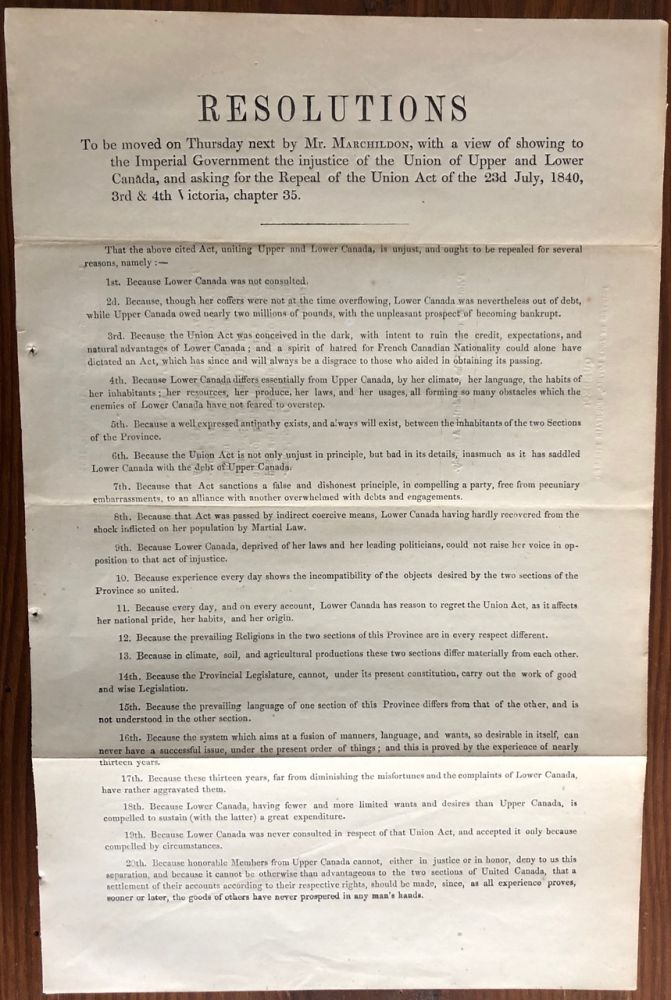 Resolution to be moved on Thursday 28th Sept. by Mr. Marchildon, with a view of showing to the Imperial Government the injustice of the Union of Upper and Lower Canada. Thomas MARCHILDON.