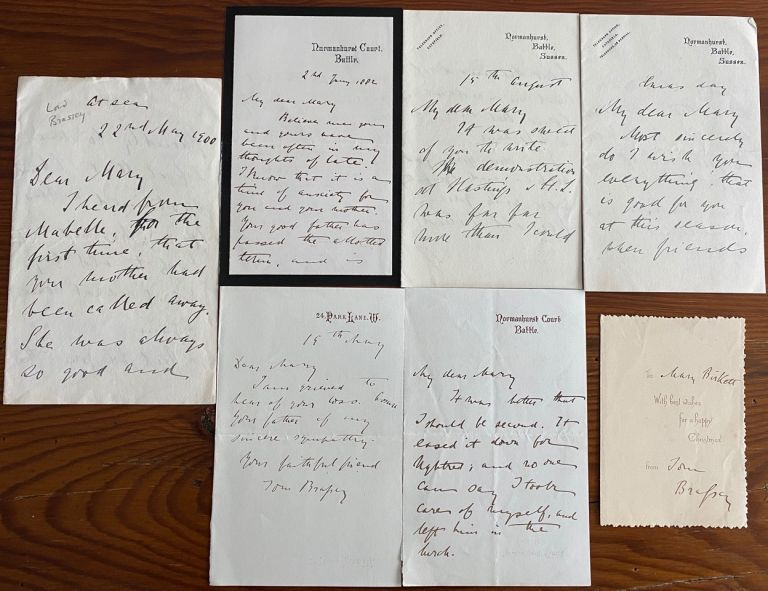 Thomas Brassey 6 autograph letters signed and one card signed, all to Mary Birkett. Thomas BRASSEY, 1st Earl Brassey.