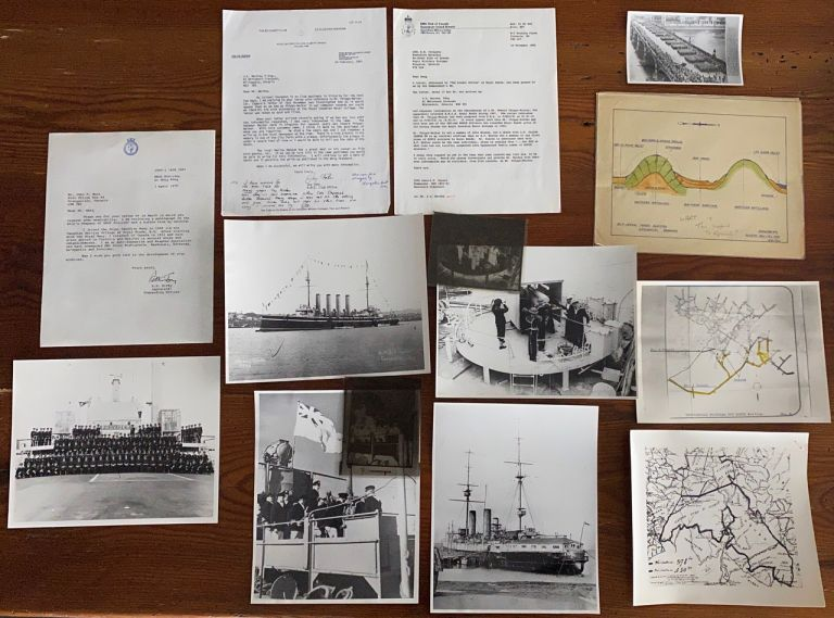 Collection of a group 13 items of miscellaneous, ephemera, letters and photographs of Navy ships relating to Canada including HMCS Provider, HMS Ariadne, other Ships and Bou-Mahni Mines Algiers materials. Capt. Richmond Hill KIRBY, Ronald G. CAPER, Joy FEHR, Rip.